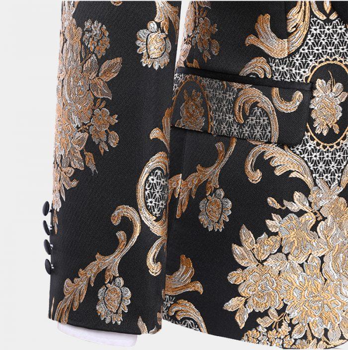 Black And Champagne Tuxedo Vintage Style Paisley Pattern from Gentlemansguru.Com