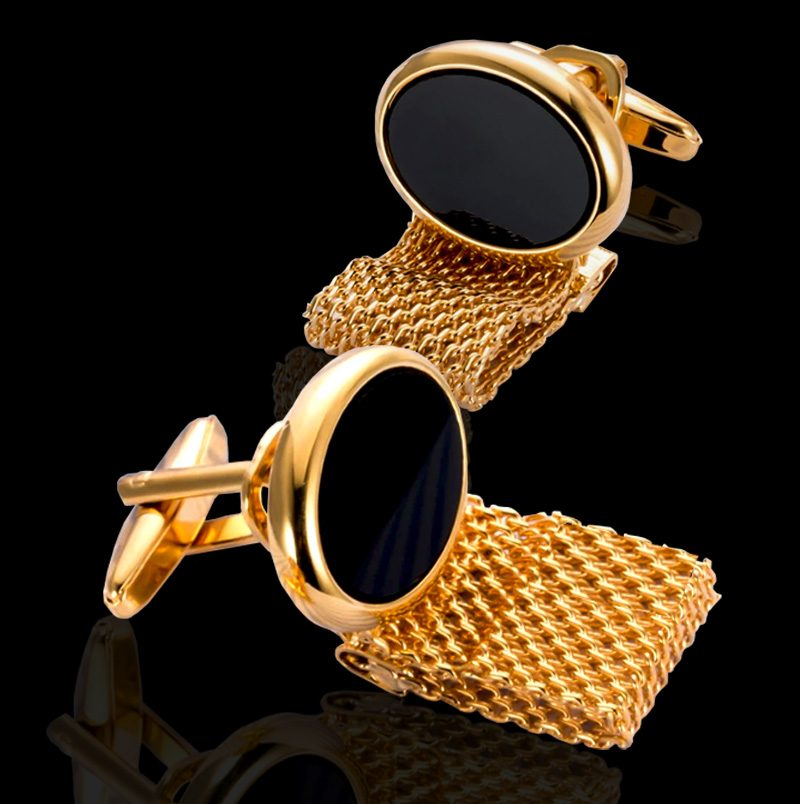 Black And Gold Mesh Wrap Around Cufflinks from Gentlemansguru.com