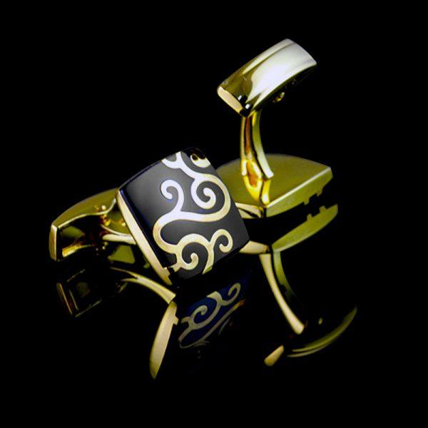 Black And Gold Wedding Cufflinks With Enamel Scroll Rpoint from Gentlemansguru.com