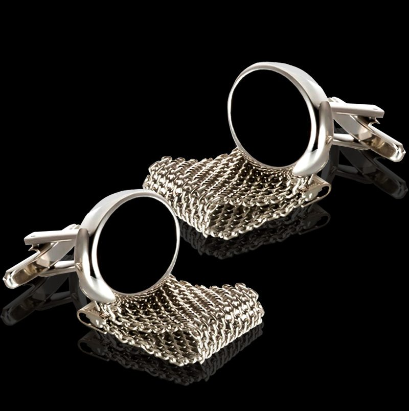 Black And Silver Wrap Around Cufflinks Set from Gentlemansguru.Com