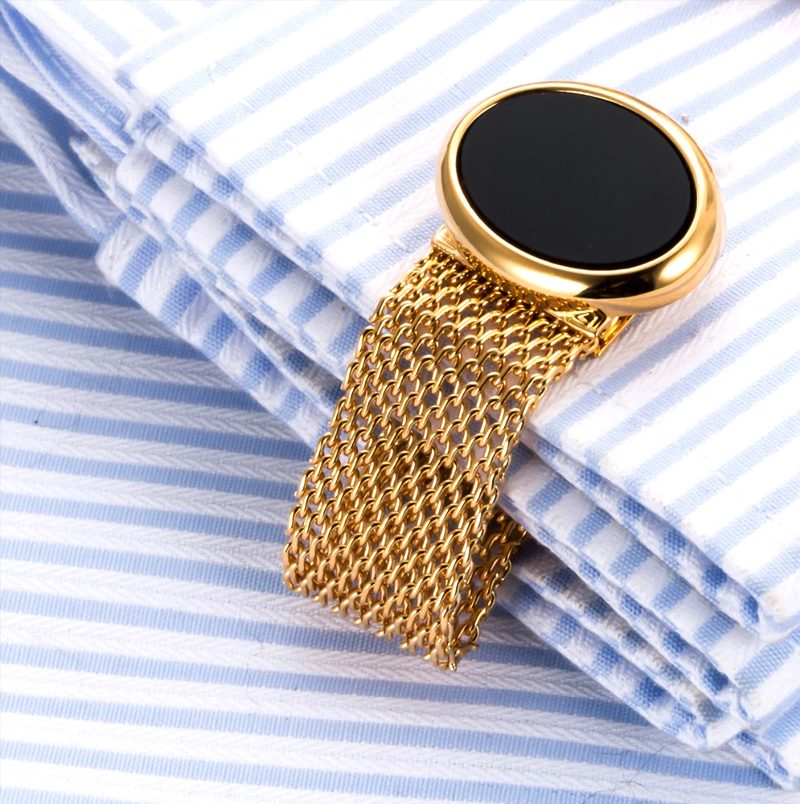 Black Oval And Gold Chain Link Wrap Around Cufflinks Vintage Cufflinks Set from Gentlemansguru.com