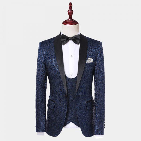 Black Satin Lapel Navy Blue Tuxedo Jacket from Gentlemansguru.com