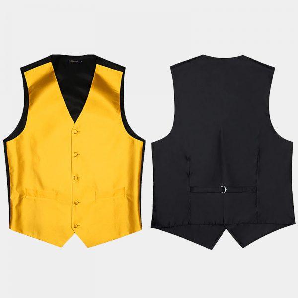 Black Tuxedo Gold Vest And NEcktie Set For Men from Gentlemansguru.com