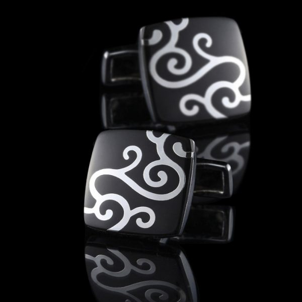 Black and Silver Cufflinks With Enamel Paisley Pattern from Gentlemansguru.com