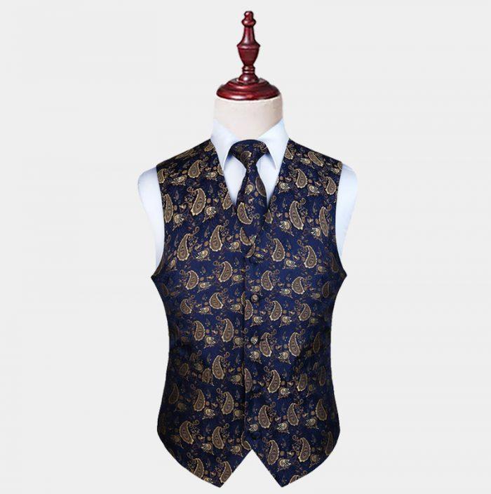 Blue And Tan Mens White Paisley Waistcoat And Tie Set from Gentlemansguru.com