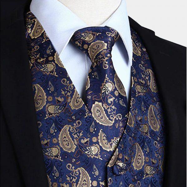 Blue And Tan Paisley Waistcoat For Men Wedding Waistcoat Vest Paisley Design from Gentlemansguru.com