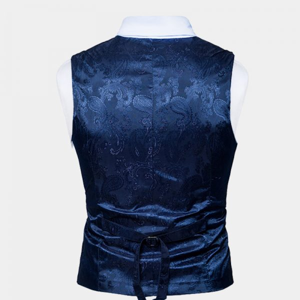 Blue Paisley Double Breasted Waistcoat For Men Wedding Groom from Gentlemansguru.com