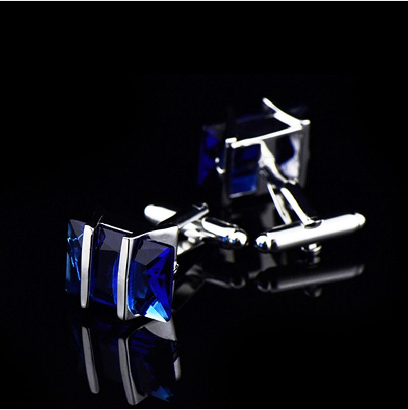 Blue Star Sapphire Cufflinks With Crystal and Silver Plating from Gentlemansguru.com