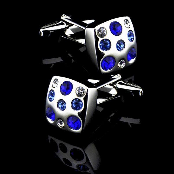 Blue Swarovski Crystal Cufflinks Set from Gentlemansguru.com