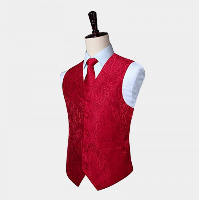 Bright Red Paisley Waistcoat For Men-Groom-Groomsmen-Wedding And Tuxedos from Gentlemansdguur.com