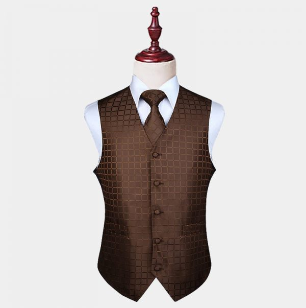 Brown Checkered Vest And Tie Set from Gentlemansguru.com