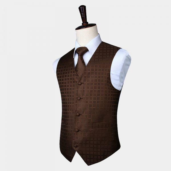 Brown Checkered Waistcoat And Tie Set from Gentlemansguru.com