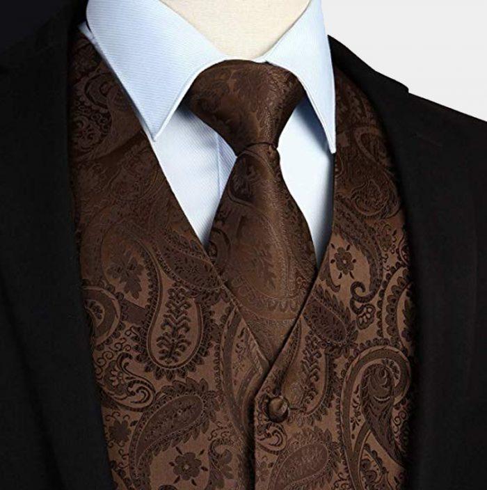 Brown Paisley Tie And Waistcoat Set from Gentlemansguru.com