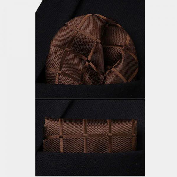 Brown Plaid Pocket Square With Vest And Necktie Set from Gentlemansguru.com
