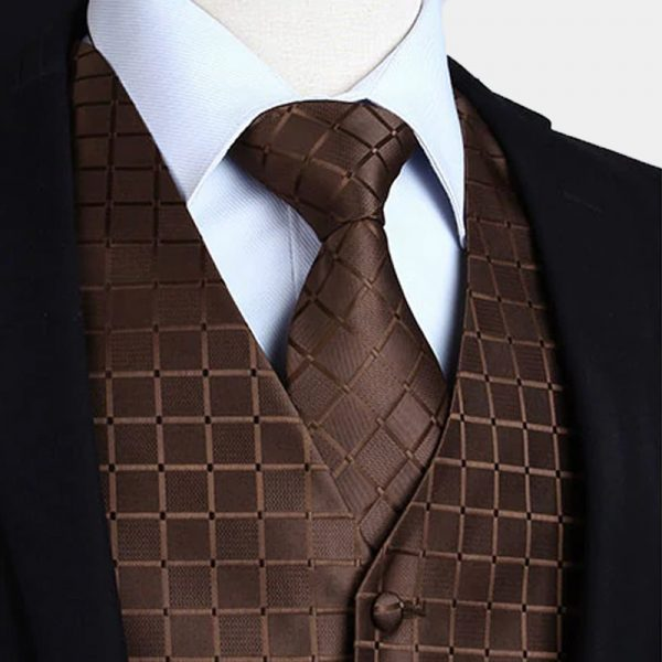 Brown Tuxedo Vest And Tie Set from Gentlemansguru.com