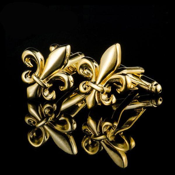 Bullet Back Gold Fleur De Lis Cufflinks Set from Gentlemansguru.com