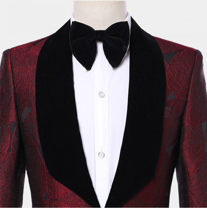 Burgundy Tuxedo Jacket With Black Lapel from Gentlemansguru.com