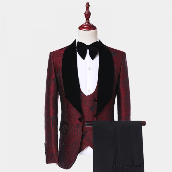 Burgundy Tuxedo With Black Lapel from Gentlemansguru.com