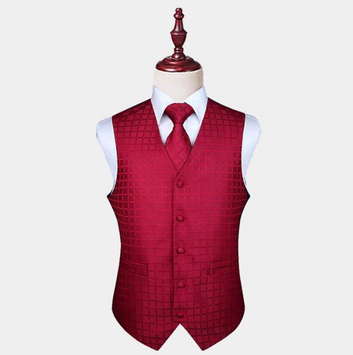 Burgundy Checkered Vest And Tie Set from Gentlemansguru.com