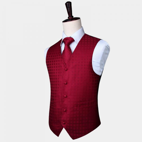 Burgundy Checkered Waistcoat And Tie Set from Gentlemansguru.com