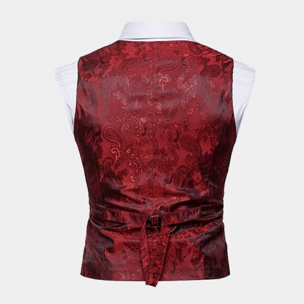 Burgundy Paisley Double Breasted Waistcoat For Men Wedding Groom from Gentlemansguru.com