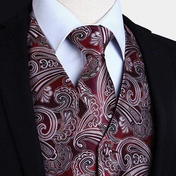 Burgundy Red Paisley Tuxedo Vest And Tie Set from Gentlemansguru.com