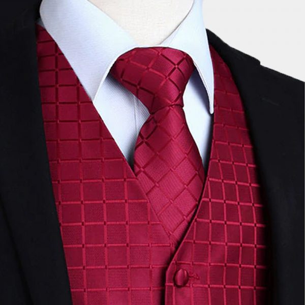 Burgundy Tuxedo Vest And Tie Set from Gentlemansguru.com
