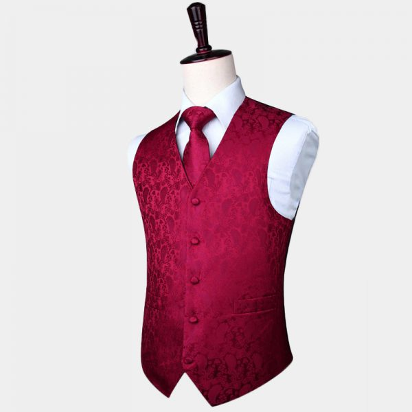 Burgundy Tuxedo Vest Paisley Waistcoat For Men Groom-Wedding from Gentlemansguru.com