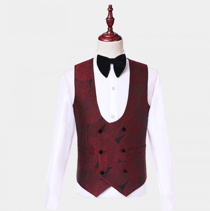 Burgundy Tuxedo Vest With Fancy Pattern from Gentlemansguru.com