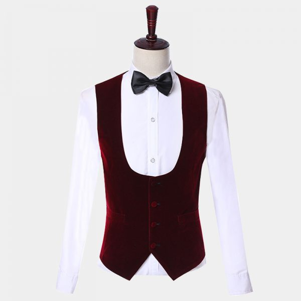 Burgundy Velvet Vest For White Tuxedo from Gentlemansguru.com