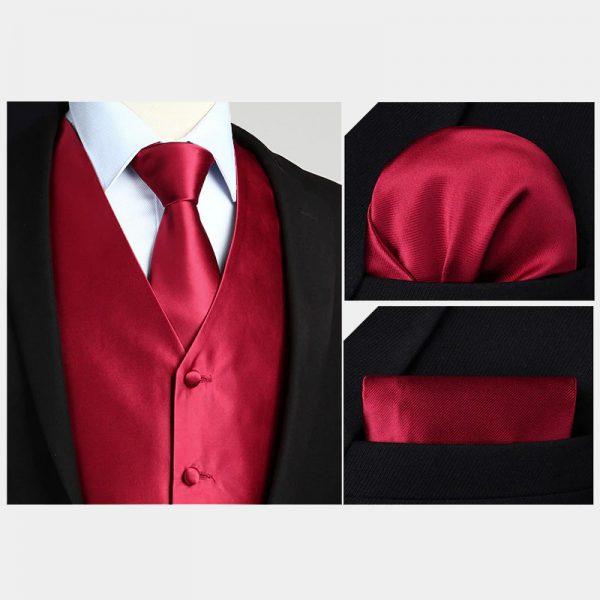 Burgundy Waistcoat And Bow Tie Set from Gentlemansguru.com