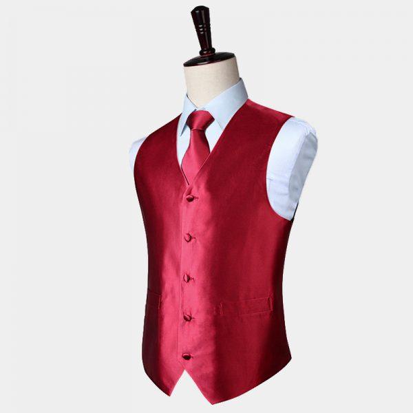 Burgundy Waistcoat And Tie Set from Gentlemansguru.com