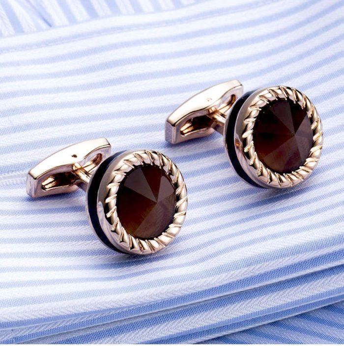 Button Shirt Cats Eye Stone Cufflinks Wedding-Tuxedo-Groom Cufflinks from Gentlemansguru.com