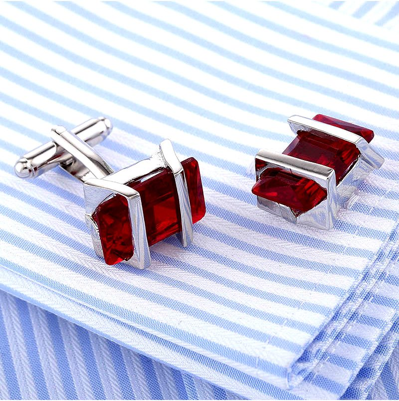 Button Shirt Cuff Shirt Red Crystal Cufflinks With Silver Plating from Gentlemansguru.com