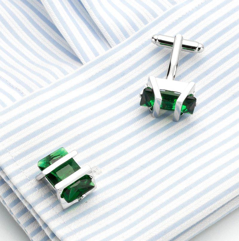 Button Shirt Emerald Green cufflinks Set With Silver Plated from Gentlemansguru.com