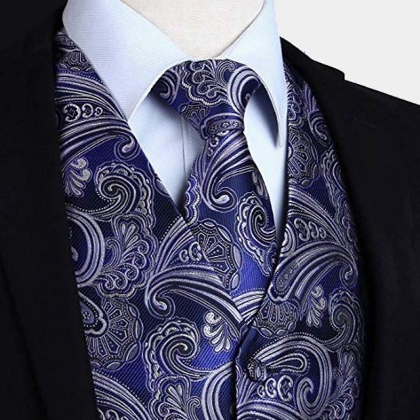 Cobalt Blue Silk Paisley Tuxedo Vest And Tie Set from Gentlemansguru.com