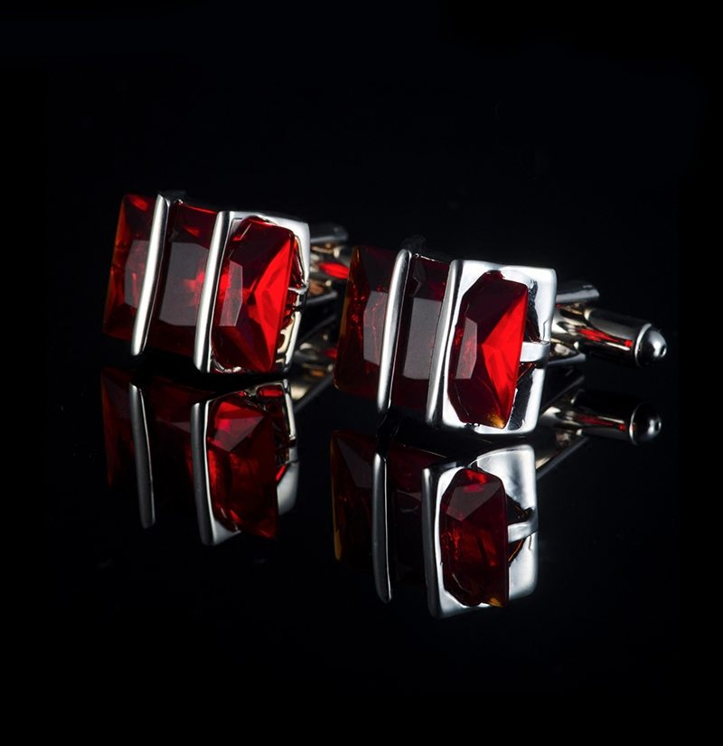 Crystal-Silver-And-Red-Cufflinks-from-Gerntlemansguru.com