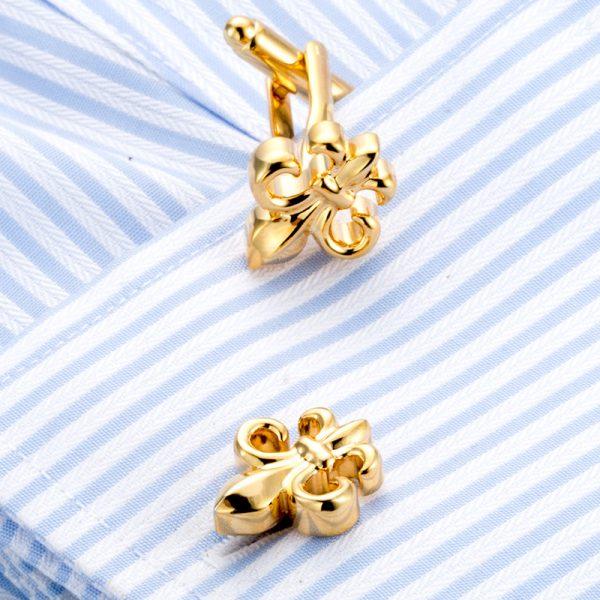 Cuff Shirt Jaeger-david-donhue-scott-kay-charles-tyrwhitt Gold Fleur De Lis Cufflinks from Gentlemansguru.com