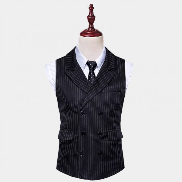 Double Breasted Black Pinstripe Vest Suit from Gentlemansguru.com