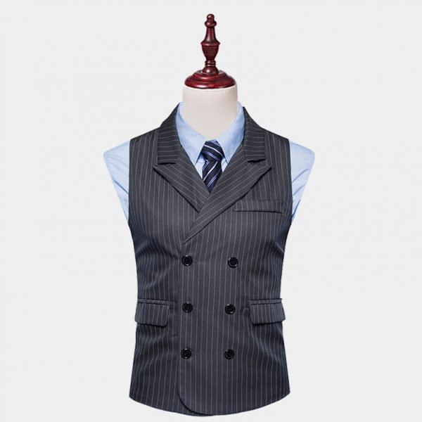 Double Breasted Grey Pinstripe Vest Suit from Gentlemansguru.com