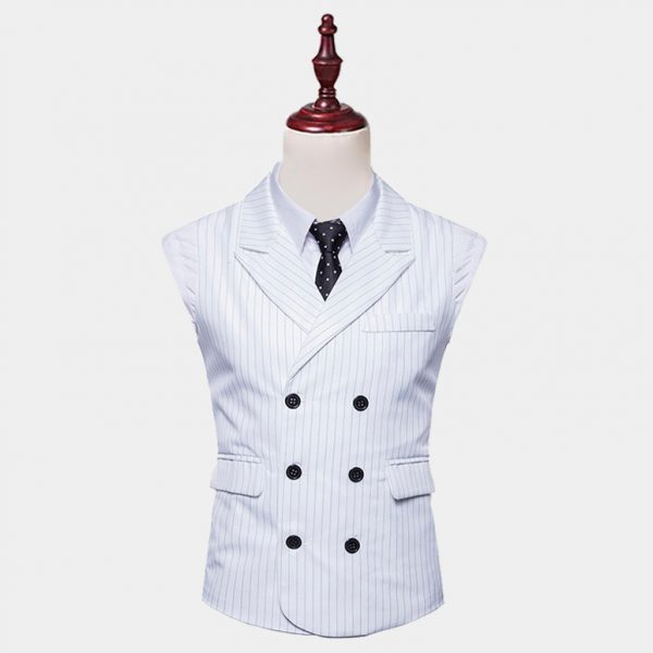 Double Breasted White Pinstripe Vest Suit from Gentlemansguru.com