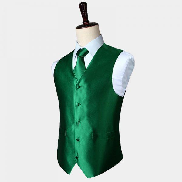 Emerald Green Waistcoat And Tie Set from Gentlemansguru.com.