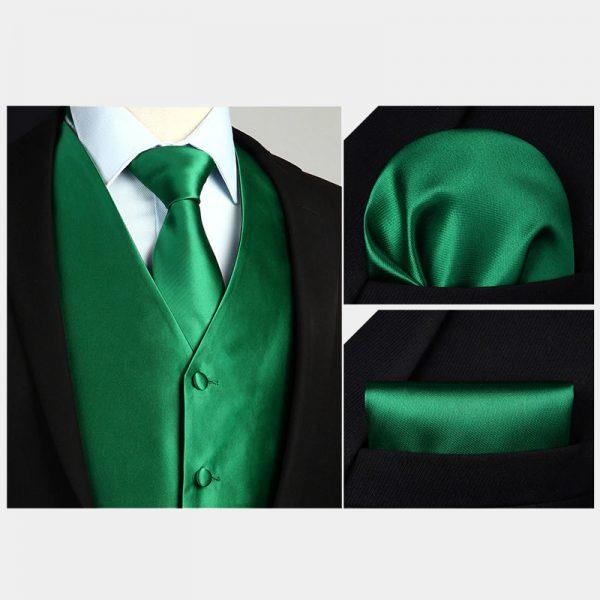Emerald Green Tuxedo Vest And Tie Set from Gentlemansguru.com