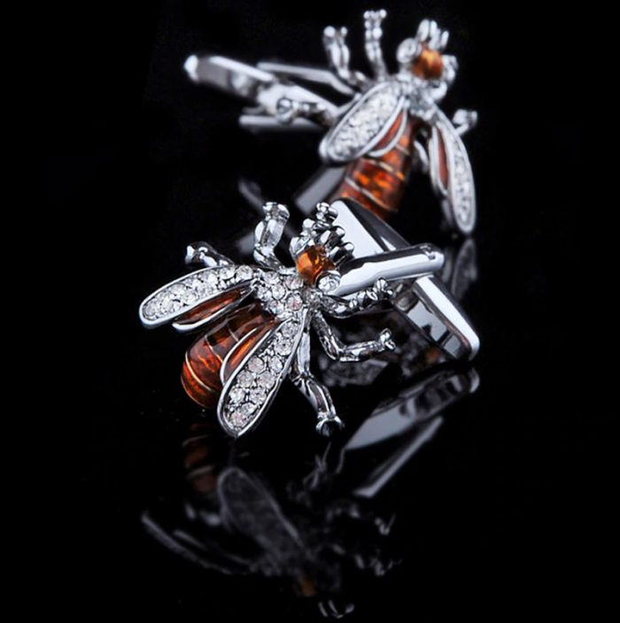 Enamel Gold Bee Cufflinks With Silver Plating from Gentlemansguru.com