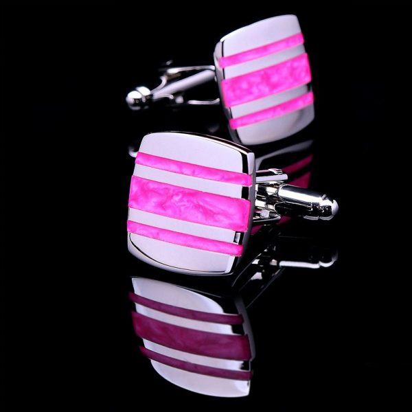 Enamel Hot Pink Cufflinks Set from Gentlemansguru.com