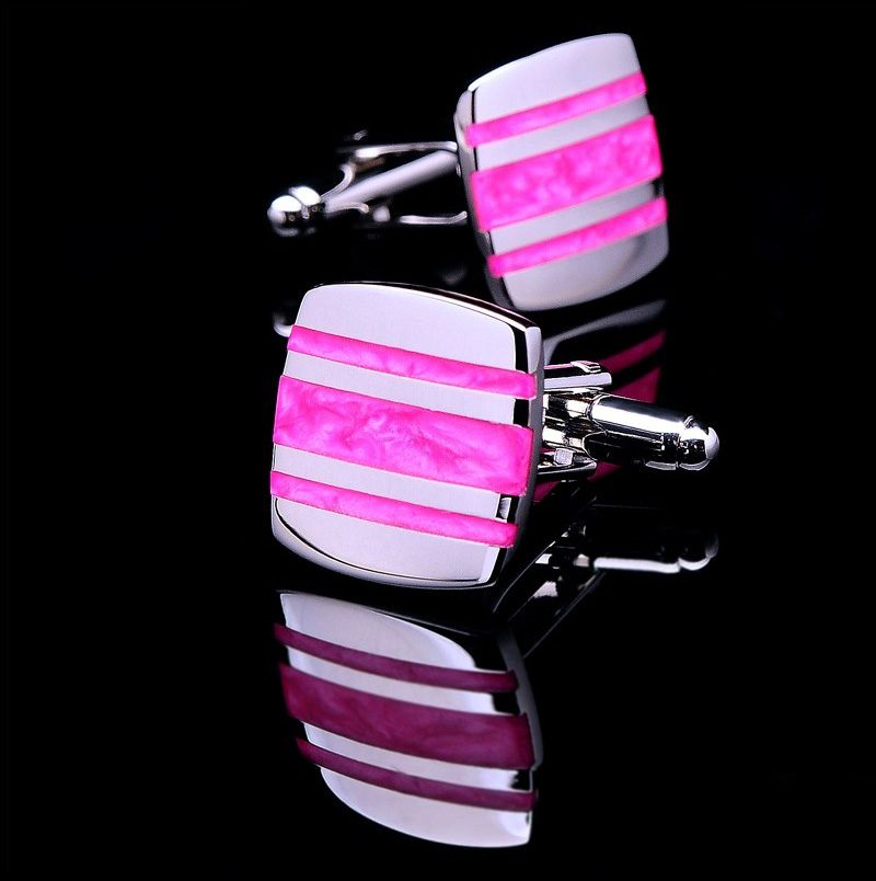 Enamel Hot Pink Cufflinks Set from Gentlemansguru.com
