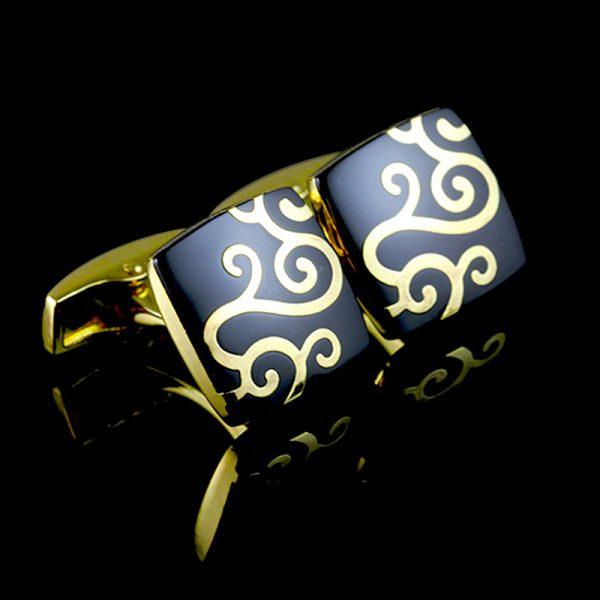 Enamel Black And Gold Paisley Onyx Cufflinks from Gentlemansguru.com