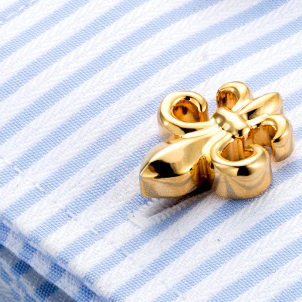 Fleur De Lis Cufflinks Gold For Men from Gentlemansguru.com