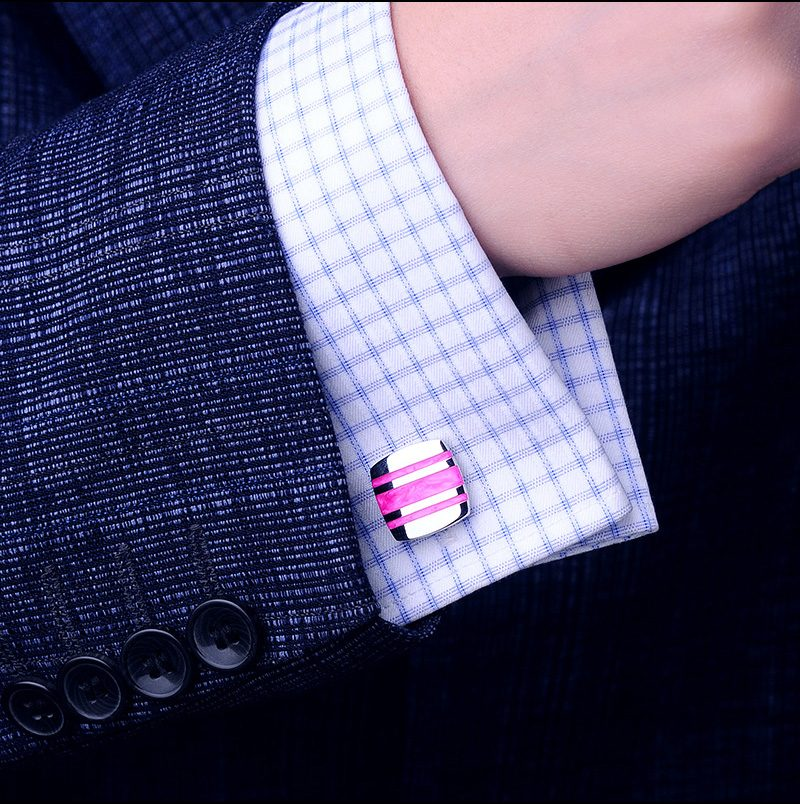 French-Cuff Shirt Button Pink Striped Cufflinks from Gentlemansguru.com