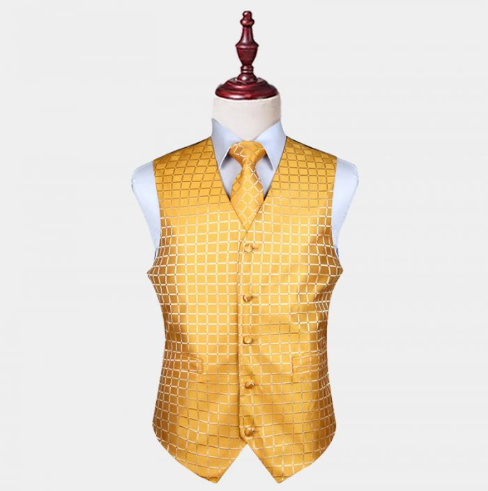 Gold Checkered Vest And Tie Set from Gentlemansguru.com